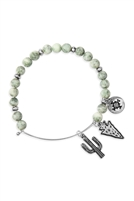 S25-8-5/S24-8-4-83678EM-BS - CACTUS CHARM WITH NATURAL STONE WIRE BRACELET - GREEN SILVER/6PCS