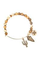 S25-8-5/S24-8-4-83678LCT-BG - CACTUS CHARM WITH NATURAL STONE WIRE BRACELET - BROWN GOLD/6PCS
