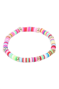 S1-4-3-83814MU-G -RUBBER METAL BEAD STRETCH BRACELET - MULTICOLOR/6PCS
