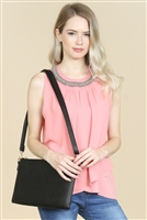 S22-8-5-8623BK- CROSSBODY WRISTLET BAG - BLACK/3PCS