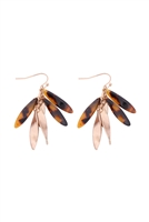 S1-8-4-A7E2117BRN - ACETATE W/ METAL CLUSTER HOOK EARRINGS-BROWN/6PAIRS