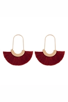 S25-8-3-A8E2143BGD -  FRINGED FAN SHAPE  EARRINGS - BURGUNDY/6PAIRS