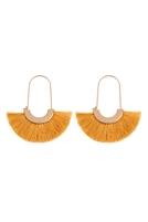 S25-8-3-A8E2143MST - FRINGED FAN SHAPE  EARRINGS - MUSTARD/6PAIRS