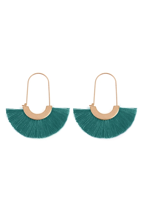 S25-8-3-A8E2143TL - FRINGED FAN SHAPE EARRINGS/6PAIRS
