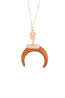 S1-8-4-A8N2165LBRN - METAL W/ WOOD HORN NECKLACE-LIGHT BROWN/6PCS