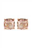S24-1-3-AE0088GD-ABL- GLASS CUSHION POST EARRINGS ABL BROWN /6PCS