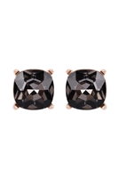 S18-8-2-AE0088GD-BD - GLASS CUSHION POST EARRINGS-BLACK/6PCS