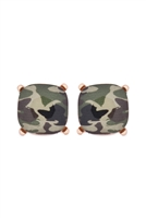 S17-10-4-AE0088GD-CAM1-GLASS CUSHION POST EARRINGS- GOLD CAMOUFLAGE/6PAIRS
