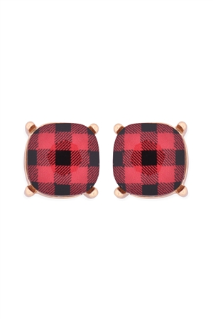 S20-9-2-AE0088GD-CK1-GLASS CUSHION POST EARRINGS-PLAID RED /6PAIRS