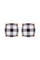 S17-10-4--AE0088GD-CK2-GLASS CUSHION POST EARRINGS-PLAID BLACK/6PAIRS
