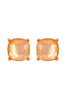 A1-3-3-AE0088GD-CPM - GLASS CUSHION POST EARRINGS GLITTERS-CAMEL/6PCS