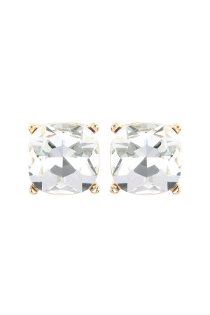 S18-8-2-AE0088GD-CRY - GLASS CUSHION POST EARRINGS - GOLD CLEAR/6PCS