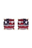 A1-3-3-AE0088GD-GRNB - GLASS CUSHION POST EARRINGS-USA/6PCS