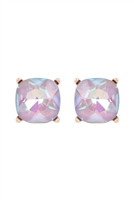 A1-3-3-AE0088GD-GRY - GLASS CUSHION POST EARRINGS GRAY/6PCS