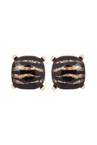 A1-3-3-AE0088GD-GZEB GOLD GLITTERED ZEBRA GLASS CUSHION POST EARRINGS/6PAIRS