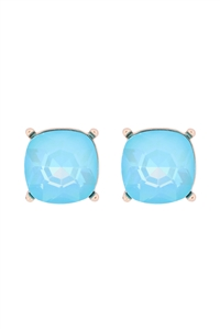S18-8-2-AE0088GD-LBU - GLASS CUSHION POST EARRINGS-LIGHT BLUE/6PCS