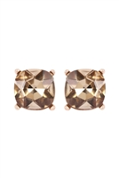 S18-8-2-AE0088GD-LCT - GLASS CUSHION POST EARRINGS-BROWN/6PCS