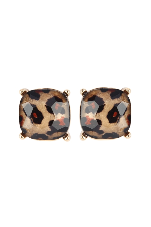 S17-10-4-AE0088GD-LEO - GLASS CUSHION POST EARRINGS - GOLD LEOPARD/6PCS