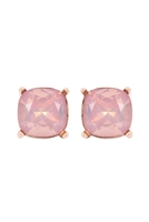 A1-1-2-AE0088GD-LPO - GLASS CUSHION POST EARRINGS-LIGHT PEACH/6PCS