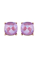 A1-1-2-AE0088GD-LVD - GLASS CUSHION POST EARRINGS-LAVENDER/6PCS