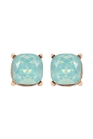 A1-1-2-AE0088GD-MNO - GLASS CUSHION POST EARRINGS-MINT/6PCS