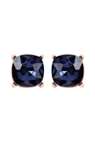 A1-1-2-AE0088GD-MON - GLASS CUSHION POST EARRINGS-MONTANA BLUE/6PCS