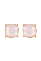 S18-8-2-AE0088GD-MOP - GLASS CUSHION POST EARRINGS-CREAM/6PCS