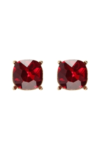S20-9-2-AE0088GD-SM - COLOR GLASS POST EARRINGS-GOL RED/6PCS