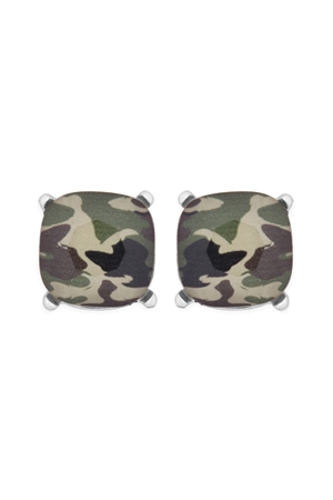 S17-10-4-AE0088RD-CAM2-GLASS CUSHION POST EARRINGS-SILVER CAMOUFLAGE 2/6PAIRS