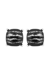 S20-9-2-AE0088RD-GZEB SILVER GLITTERED ZEBRA GLASS CUSHION POST EARRINGS/6PAIRS