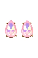 S6-6-5-AE0324PNKAB - GLASS STONE TEARDROP  EARRINGS - PINK/6PCS