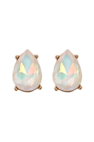 S6-6-5-AE0324WHTAB - GLASS STONE TEARDROP  EARRINGS - WHITE/6PCS