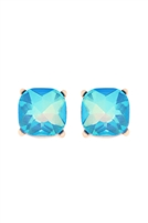 S1-3-1-AE0325BLUAB - GLASS STONE CUSHION CUT POST EARRINGS-BLUE/6PCS