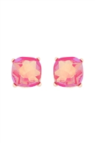 S1-3-1-AE0325FSHAB - GLASS STONE CUSHION CUT POST EARRINGS-FUCHSIA/6PCS