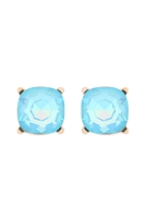 S1-3-1-AE0325LBUAB - GLASS STONE CUSHION CUT POST EARRINGS-LIGHT BLUE/6PCS