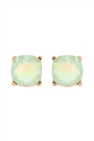 S1-3-1-AE0325MNTAB - GLASS STONE CUSHION CUT POST EARRINGS-MINT/6PCS
