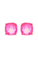 S1-3-1-AE0325NPKAB - GLASS STONE CUSHION CUT POST EARRINGS-NEON PINK/6PCS