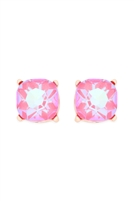 S24-1-4-AE0325PNKAB - GLASS STONE CUSHION CUT POST EARRINGS-PINK/6PCS