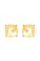 S1-3-1-AE0325YELAB - GLASS STONE CUSHION CUT POST EARRINGS-YELLOW/6PCS