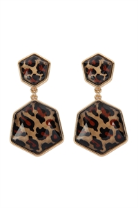 S22-11-5-AE0329GD-LEO - GOLD LEOPARD HEXAGON POST DANGLE EARRINGS/6PAIRS