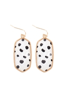 S1-5-4-AE0331DAL - OVAL DROP EARRINGS-GOLD DALMATIAN/6PCS
