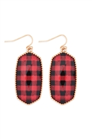 S25-6-4-AE0331GD-CK1-BUFFALO CHECKERD OVAL DROP EARRINGS-GOLD RED/6PCS