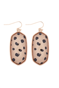 S7-6-2-AE0331NDAL - OVAL DROP EARRINGS-BROWN DALMATIAN/6PCS