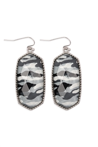 S25-6-4-AE0331RD-CAM2-OVAL DROP EARRINGS-SILVER CAMOUFLAGE/6PCS