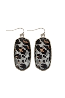S25-6-4-AE0331RD-LEO - SILVER LEOPARD OVAL FISH HOOK DROP EARRINGS/ /6PCS