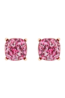S22-2-4-AE0333FSH-GLITTER EPOXY STUD EARRINGS-FUCHSIA/6PCS