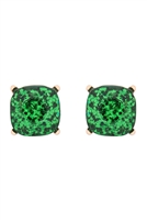 S17-11-5-AE0333GRN-GLITTER EPOXY STUD EARRINGS-GREEN/6PCS