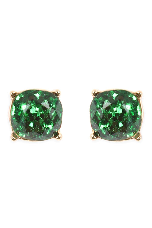 S21-8-4-AE0336GRN-GREEN GLITTER EPOXY STUD EARRINGS/6PCS