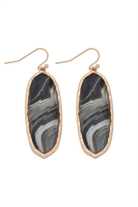 S22-2-4-AE0341BK-PRINTED EPOXY OVAL DROP HOOK EARRINGS-BLACK/6PCS