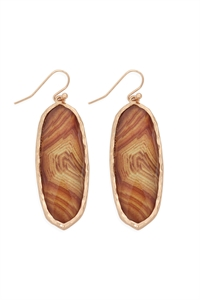 S22-2-4-AE0341BRW-PRINTED EPOXY OVAL DROP HOOK EARRINGS-BROWN/6PCS